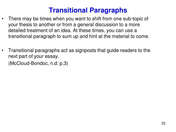 Transitional Paragraphs