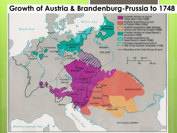 Growth of Austria & Brandenburg-Prussia to 1748