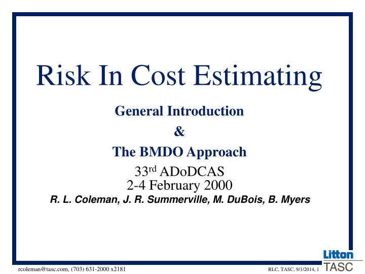 risk in cost estimating n.