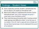 findings student views