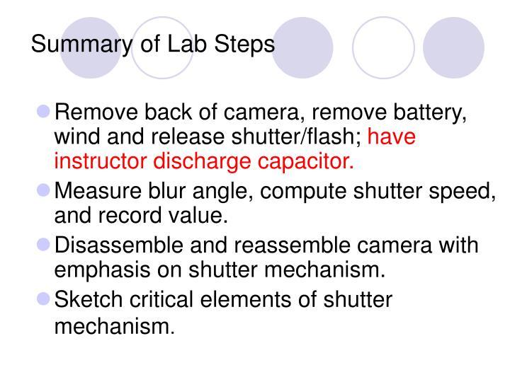 Summary of Lab Steps