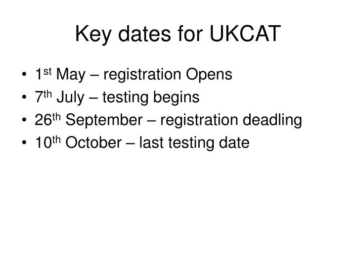 Key dates for UKCAT