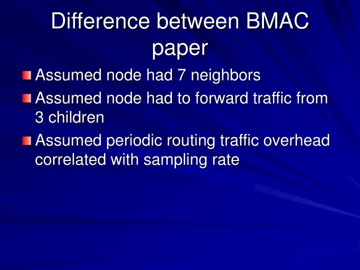 Difference between BMAC paper