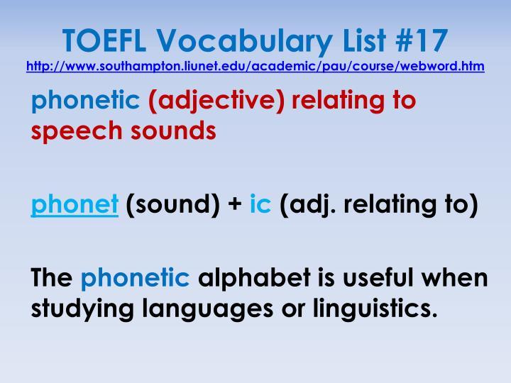 TOEFL Vocabulary List
