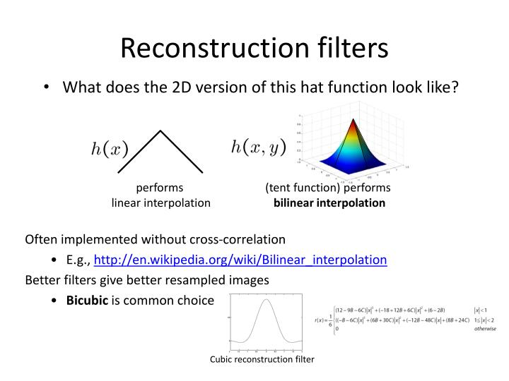 Reconstruction filters