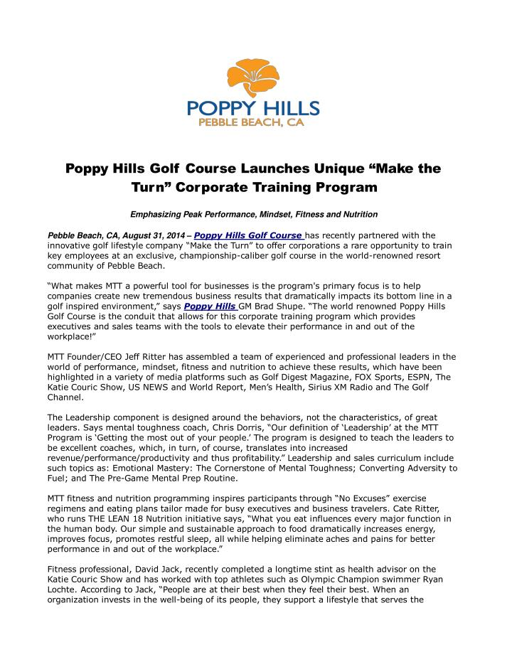 Poppy hills golf course launches unique make the turn