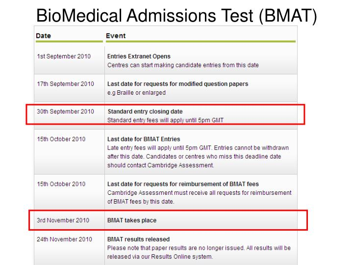 BioMedical Admissions Test (BMAT)
