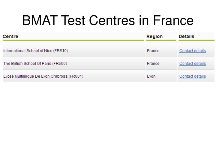 BMAT Test Centres in France