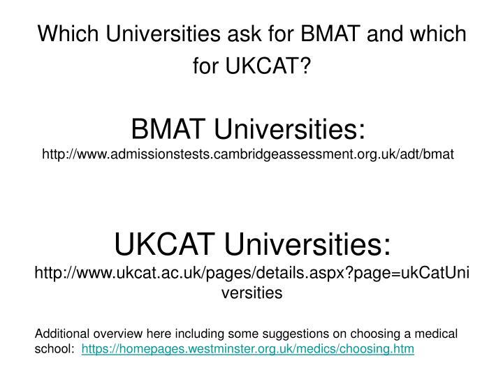 BMAT Universities: