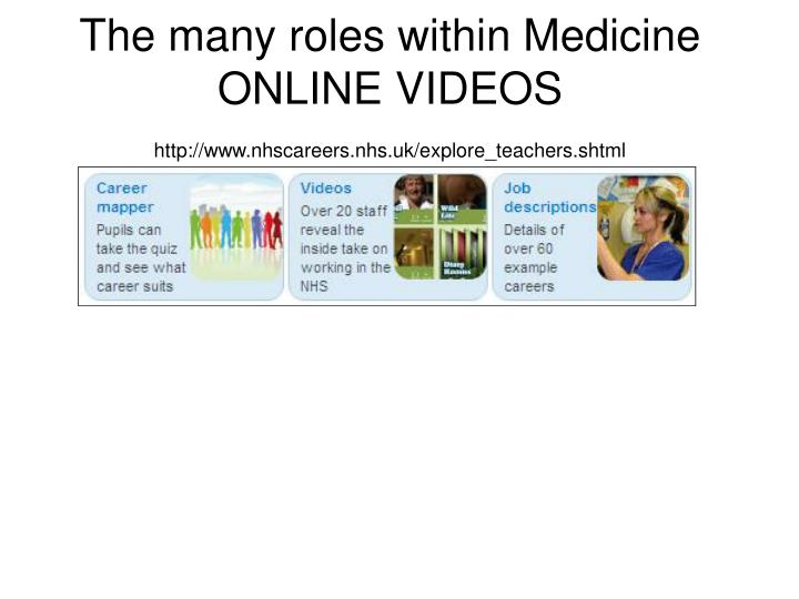 The many roles within Medicine ONLINE VIDEOS