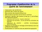 programme d am lioration de la qualit de l environnement