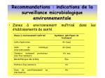 recommandations indications de la surveillance microbiologique environnementale