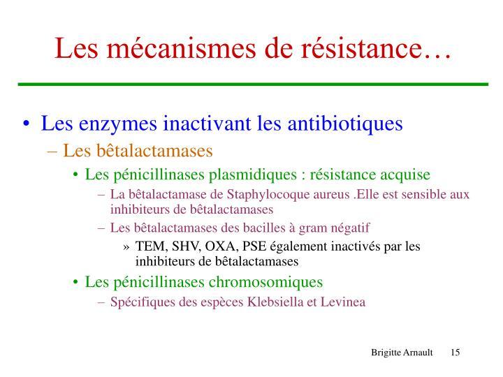 Les mécanismes de résistance…