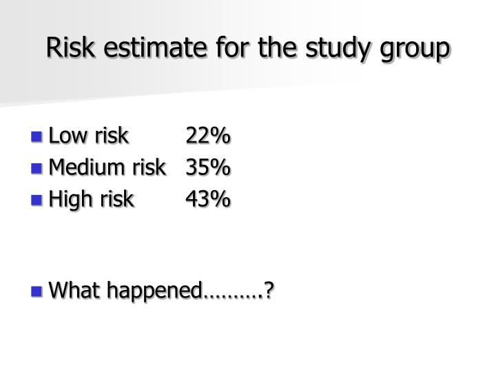 Risk estimate for the study group