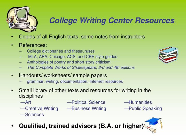 College Writing Center Resources