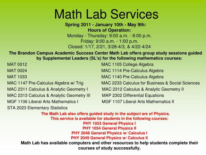 Math Lab Services