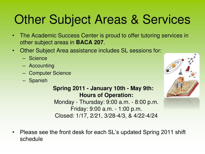 Other Subject Areas & Services
