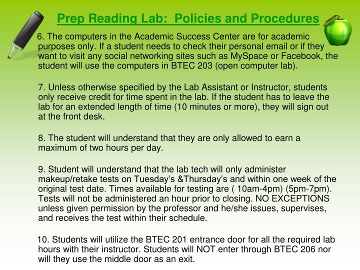 Prep Reading Lab:  Policies and Procedures