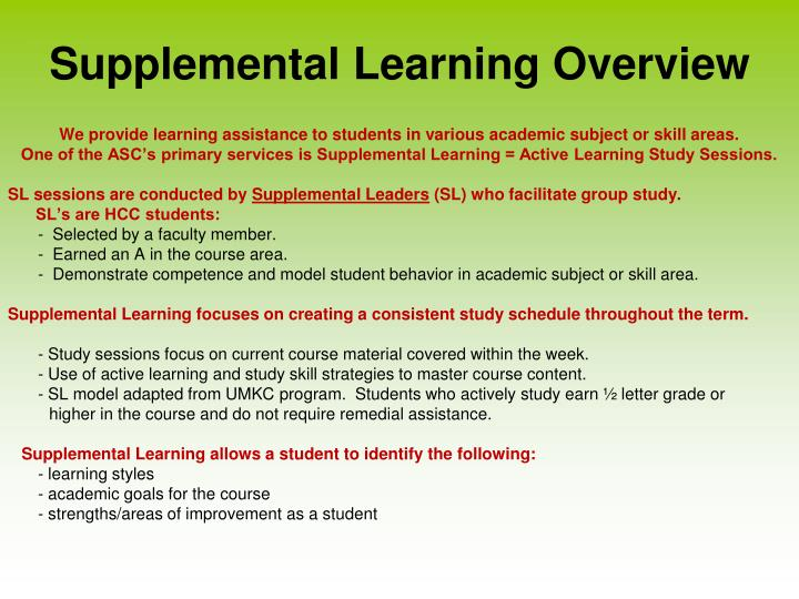 Supplemental Learning Overview