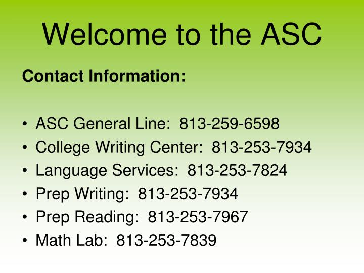 Welcome to the asc