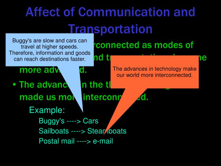 Affect of Communication and Transportation