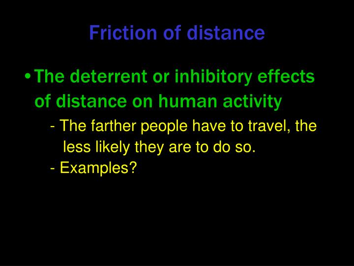 Friction of distance
