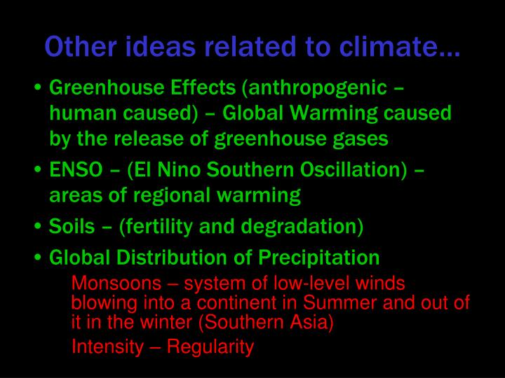 Other ideas related to climate…