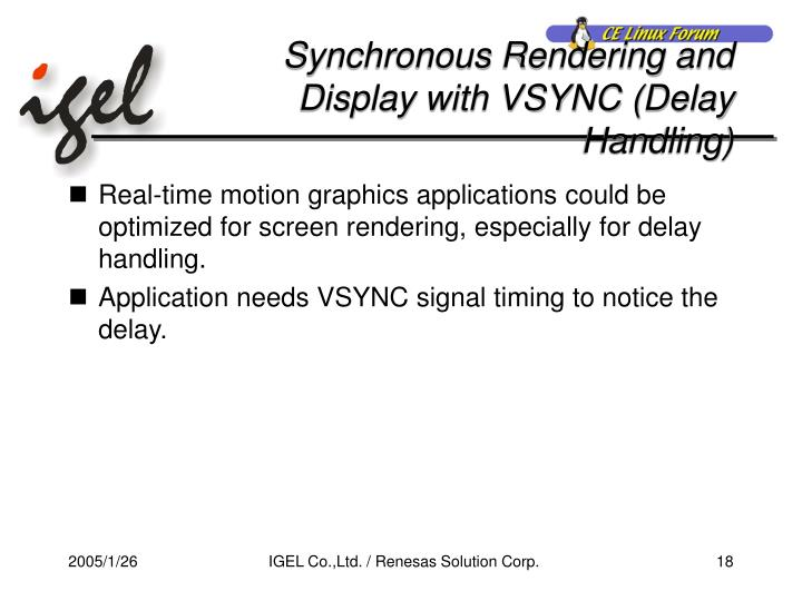 Synchronous Rendering and Display with VSYNC (Delay Handling)
