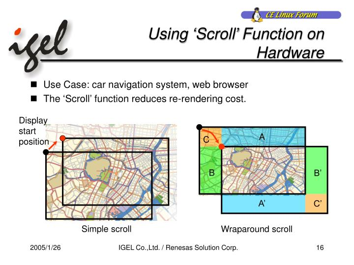 Using 'Scroll' Function on Hardware