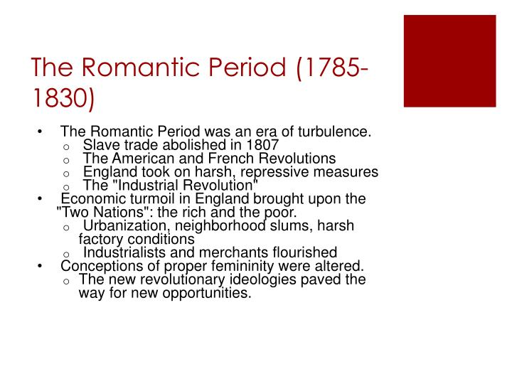 The romantic period 1785 1830