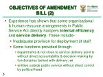 objectives of amendment bill 2