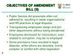 objectives of amendment bill 3