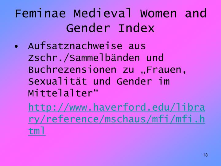 Feminae Medieval Women and Gender Index