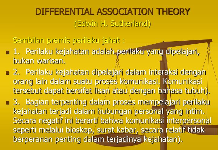 edwin sutherlands differential association theory on crime Edwin sutherland, known for the and is best known for defining white-collar crime and differential association of the theory, in karl schuessler (ed) edwin.