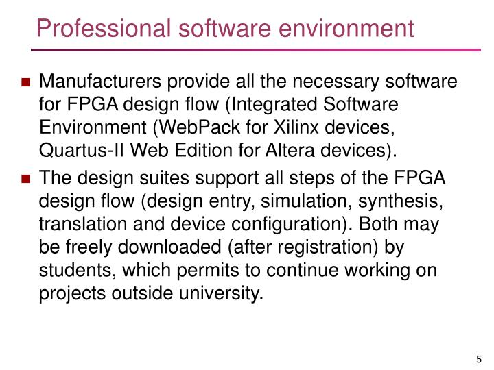 Professional software environment
