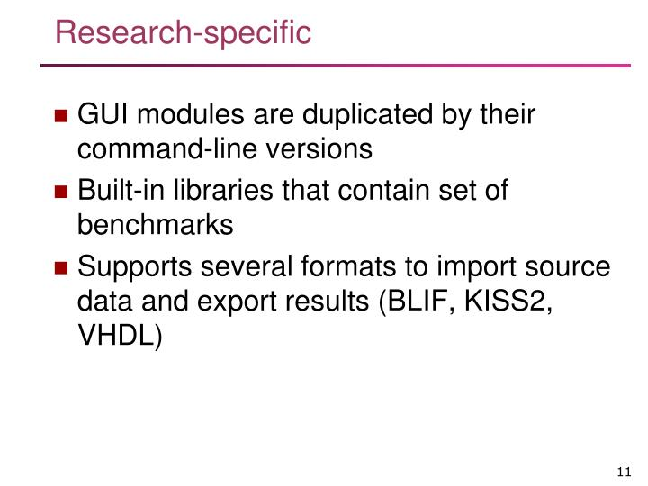 Research-specific