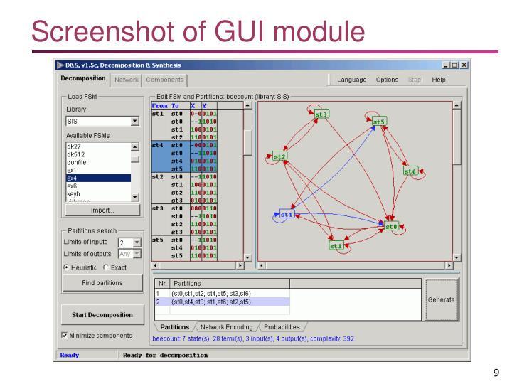 Screenshot of GUI module