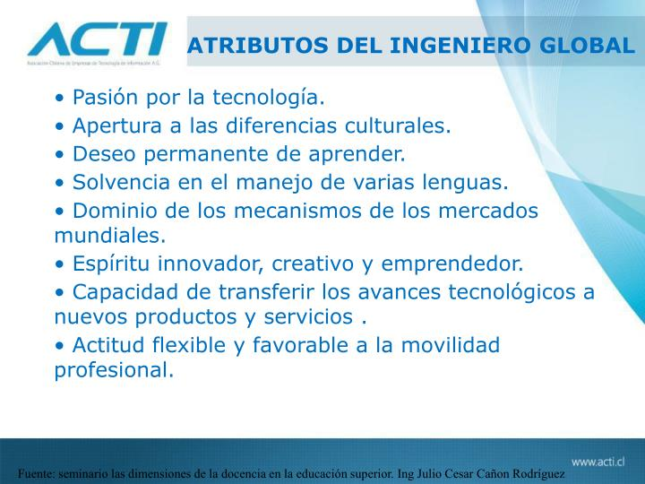 ATRIBUTOS DEL INGENIERO GLOBAL