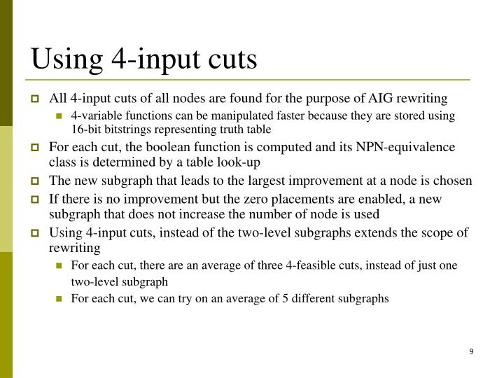 Using 4-input cuts