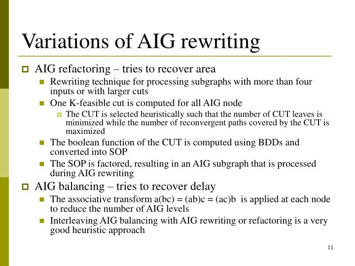 Variations of AIG rewriting