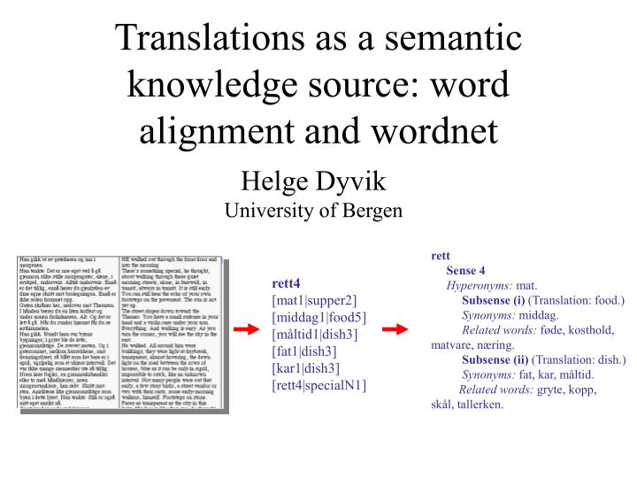 translations as a semantic knowledge source word alignment and wordnet n.