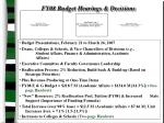 fy08 budget hearings decisions