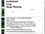 institutional long range planning