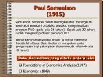 paul samuelson 1915