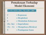 pemaknaan terhadap model ekonomi