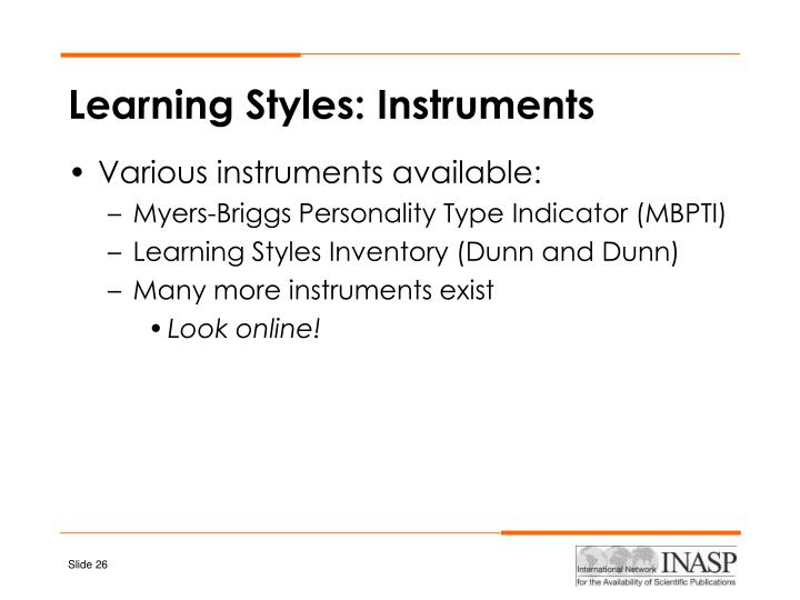 Learning Styles: Instruments