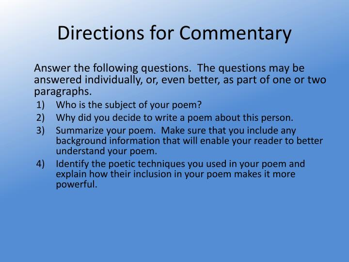 Directions for Commentary