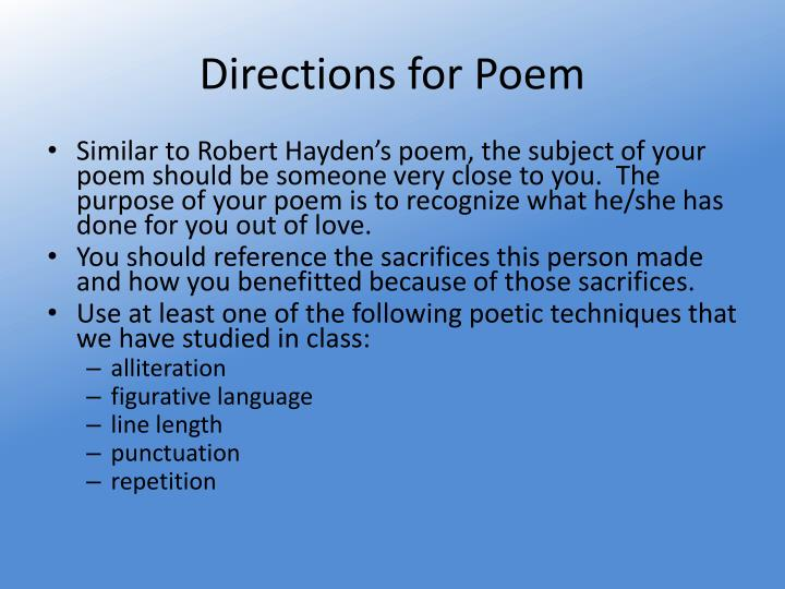 Directions for Poem
