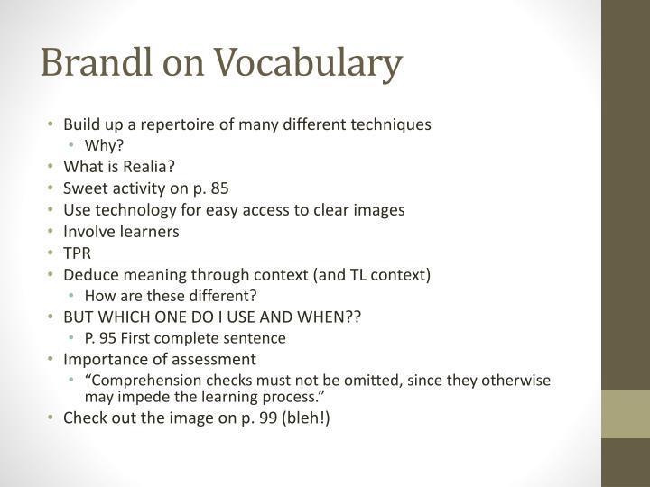 Brandl on vocabulary