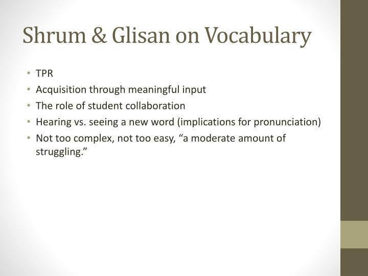 Shrum glisan on vocabulary